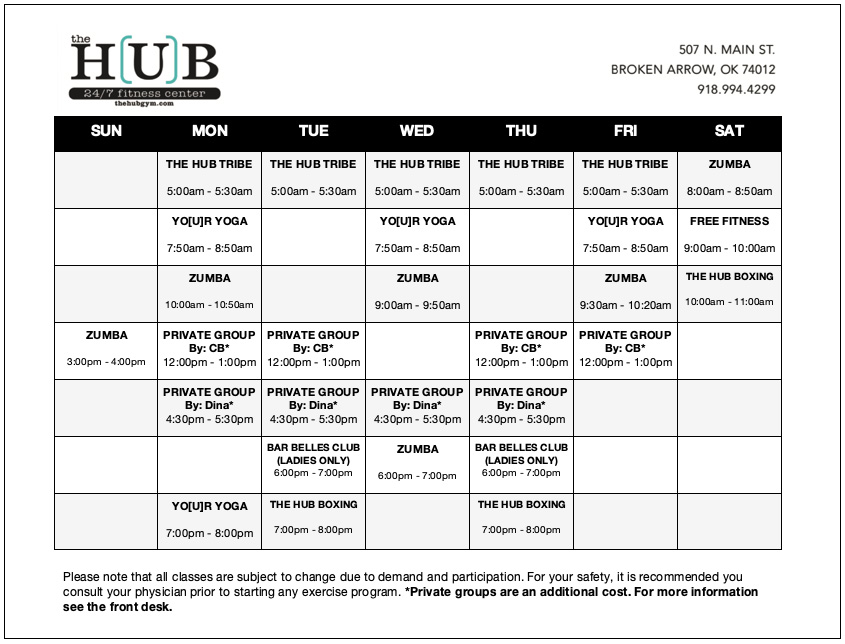 Broken Arrow Gyms | The Hub Gym - Class Schedule 2020